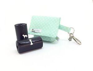 Dog Treat Bag / Dog Poo Bag Carrier,  Mint Green Polka Dot, Dog Walking Pouch
