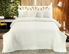 Handmade Cotton Quilted Bedspread Set Quilt Bed Set Chloe Ivory