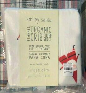Pottery Barn Kids West Elm Modern Smiley Santa flannel crib sheet Christmas