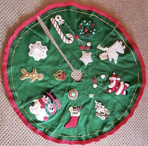 Vintage Handmade Felt Christmas Tree Skirt Sequins Angel Santa Snowmen Stocking