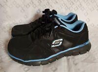 Skechers Women's Black Blue Work Synergy Sandlot Alloy Toe Shoes Sz 8 Free Ship
