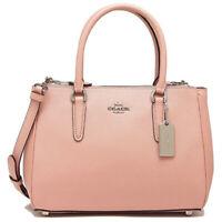 NWT COACH Luxury Mini Surrey Carryall Crossbody Bag Petal Pink Silver F44962 NEW