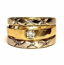 14k yellow gold .21ct diamond engagement ring wedding band 9.8g estate vintage