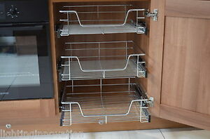 PULL OUT WIRE BASKETS KITCHEN CABINET CHROME SOFT CLOSE RUNNERS LARDER CUPBOARDS