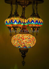 Handmade Turkish Mosaic Lamp - 6 Globe Celestial Series Red Flare Chandelier