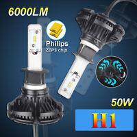 H1 50W Philips ZES LED Bulb Headlight Conversion Fog Lamp Kit Dipped Main Beam