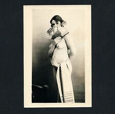 Young NUDE WOMAN Teasing W Fan/Giovane Donna Nude M scomparti * VINTAGE 20s PHOTO