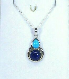 4.50 ct Genuine Lapis Lazuli & Arizona Turquoise Solid Sterling Silver Necklace