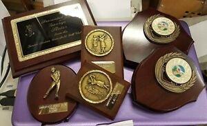Bundle of 6 x used golf trophy award shields & plaques, for rework or props