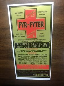 Fyr Fyter Super Modal A Fire Extinguisher Label WW2 Jeep And Deuce And A Half