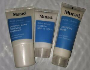 MURAD ACNE CONTROL 3 PIECE TRAVEL SET CLARIFYING MASK, TREATMENT & MATTIFIER