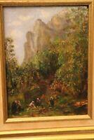 Tableau huile sur panneau Ruggiero paysage animé orientaliste Orientalisme
