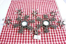 Abbott Collection Helsinki Snowflake 2 Tea Light Candle holders + 6 napkin rings