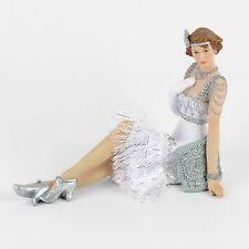Juliana Art Deco Gatsby Girls White / Silver Lady Figurine / Ornament.New.58230