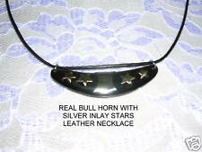 NEW REAL COLLAR SHAPED BULL HORN w ALPACA SILVER STAR INLAY PENDANT NECKLACE