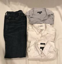 Youth Junior Boys Size 14 Large Dress Shirt Jeans Lot Button Down White Shirt