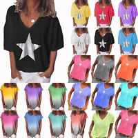 Womens Short Sleeve Summer Blouse Ladies Casual Tee Tunic T-Shirt Tops Plus Size