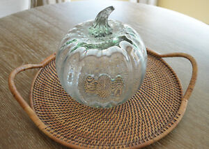 Pottery Barn Recycled Glass ~Large~PUMPKIN CLOCHE~ Fall Thanksgiving New in Box