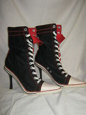 High Heel Sneakers Size 10 Black/ White/Red