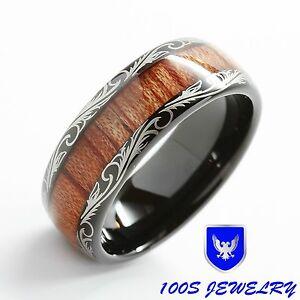 Mens Women Wedding Band Black Tungsten Ring Koa Wood Inlay Comfort Fit Size 6-16