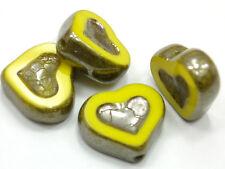 4 Böhmische Glasperlen 14x12mm Table-cut Gelb Opak Platin Herzen Beads #2799