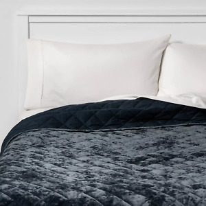 Threshold King Velvet Diamond Stitch Quilt - in Navy Blue