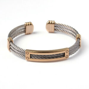Stainless Steel 13mm Cable Cuff Bangle Mens Golden UK