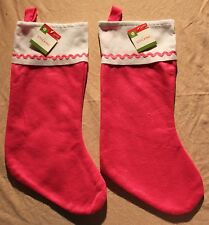 2-SET PINK FELT STOCKINGS Girls Christmas Holiday Decorate Basic Embellish NEW