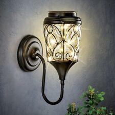 Glass Lamp Fixture Wall Mount Outdoor Exterior Solar Powered Lantern Porch Light