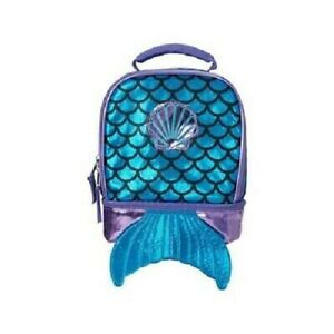 NEW True Metallic Mermaid Dual Compartment Lunch Bag for Girls - Turquoise