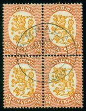 FINLAND #152 (134), 25mk Lion, wmk posthorn, used Block w/Vammala 1930 cancel