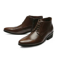 Mooda Mens Genuine Leather Wingtip Ankle Boots Formal Dress Shoes BlackDean