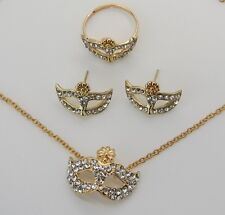 Beautiful Gold Plated Rhinestone Vietnamese Mask Earrings And Necklace and Ring