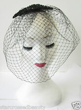 Black Vintage Birdcage Veil Beaded Fascinator Headpiece Hair 1920s Flapper R23