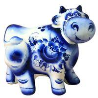 Large Gzhel Porcelain Bull Figurine, Symbol 2021, Handmade in Russia. ГЖЕЛЬ
