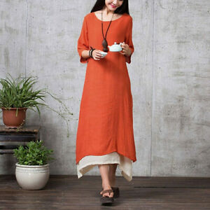 Fall Autumn Bohemian Long Maxi Dress Retro Plus Size Loose Casual Dress 2X 3X 4X