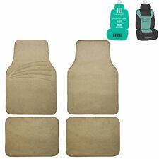 4pcs Car Floor Mats For Auto Car SUV Carpet Liner Beige w/ Free Freshener