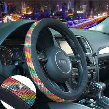 RAINBOW STEERING WHEEL COVER MULTI-COLOR PSYCHEDELIC FABRIC STANDARD SZ