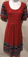REBORN Boho Red Scoop Peasant Geometric Fit Flair Dress Sz L