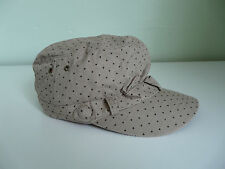 NEW MONSOON ACCESSORIZE LADIES BEIGE SPOT PRINT RETRO MILITARY CAP BOHO HAT