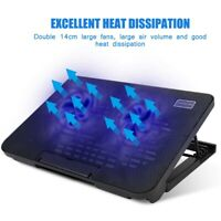 Laptop Cooling Pad 2 Fan USB Powered Cooler Base Blue LED Radiator for Notebook