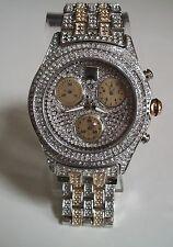 Designer Mens big hip hop  Bling clubbing gold/silver finish ICE fashion  watch