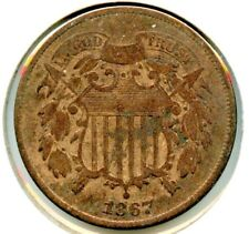 1867 2 ( Two ) Cent Coin
