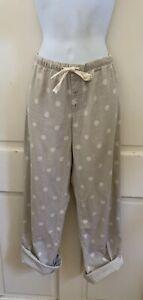 GAPBODY Beige/White Polka Dot Cotton Drawstring Flannel Pajama Pants S