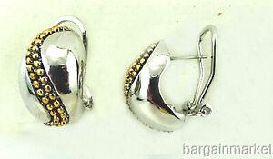 Silver & Gold Two Tone Half Hoop Huggie Omega Back Earrings