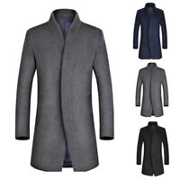 Men Winter Wool Overcoat Jacket Mid Long French Front Trench Coat Button Outwear