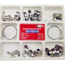 100Pcs/kit Dental Matrix Sectional Contoured Metal Matrices No.1.398 & 2 Rings