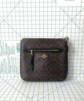 Coach F77885 Coated Canvas PVC Zip Large Crossbody Bag In Brown Black