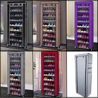 10 Tier 9 Grid Shoe Rack Shelf Saving Storage Closet Organizer Cabinet w/ Cover