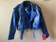 Vintage Protech Leather Apparel Motorcycle Biker Blue Leather Jacket